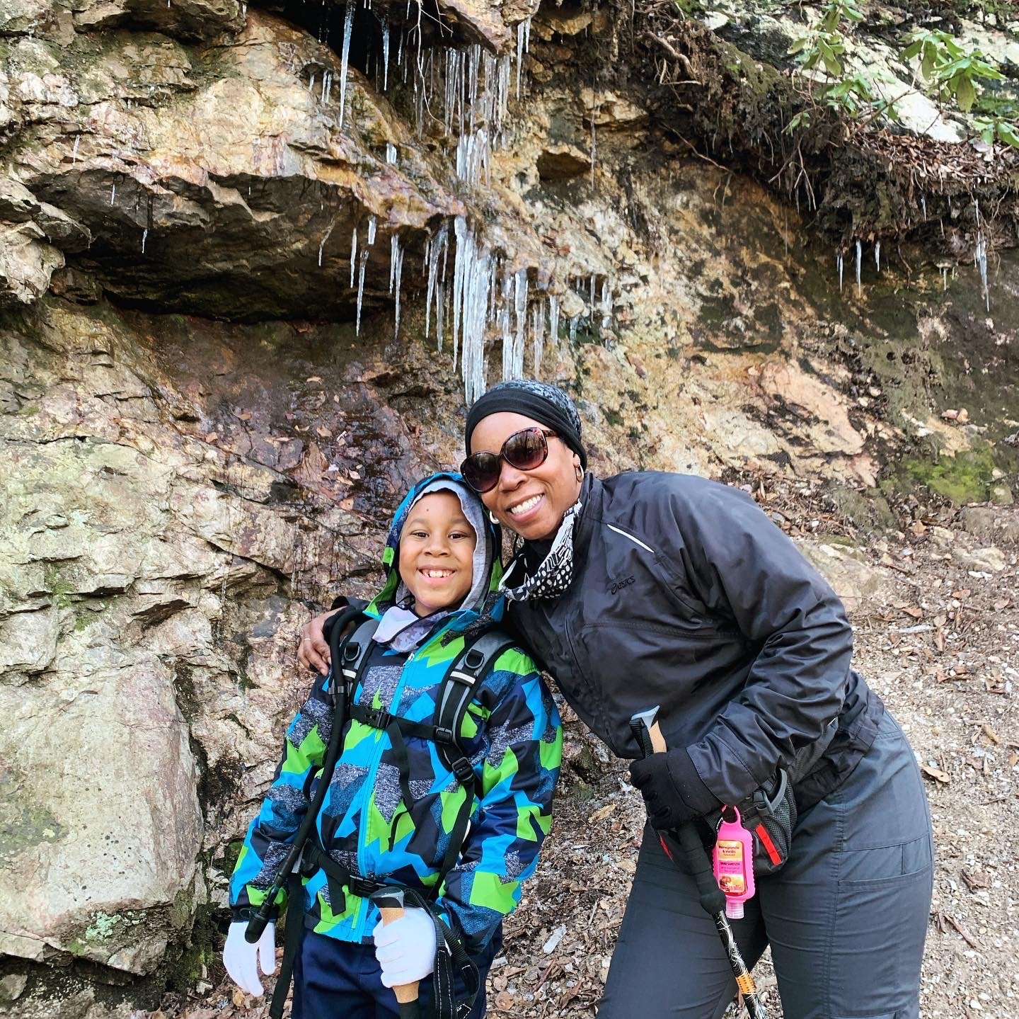 mom and son hiking